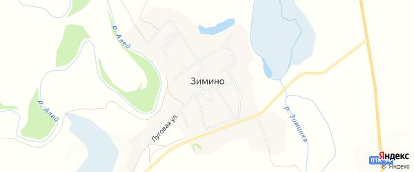 Карта села Зимино в Алтайском крае с улицами и номерами домов