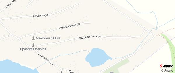 Пришкольная улица на карте Черемного села Алтайского края с номерами домов