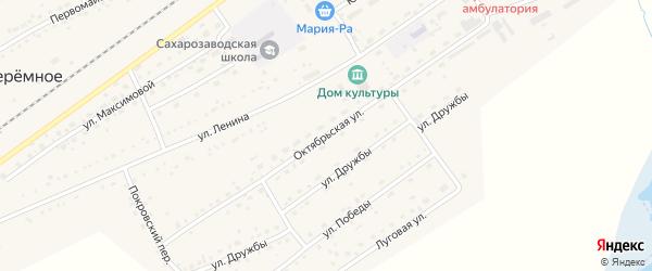 Октябрьская улица на карте Черемного села Алтайского края с номерами домов