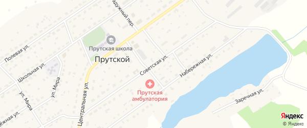 Советская улица на карте Прутского поселка с номерами домов
