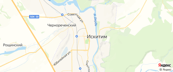 Карта Искитима с районами, улицами и номерами домов
