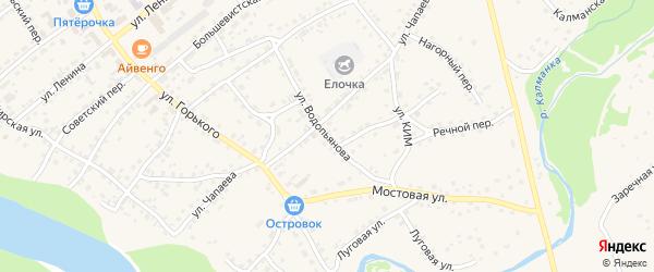 Улица Водопьянова на карте села Усть-Калманки с номерами домов