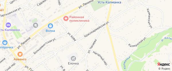 Красноармейская улица на карте села Усть-Калманки с номерами домов