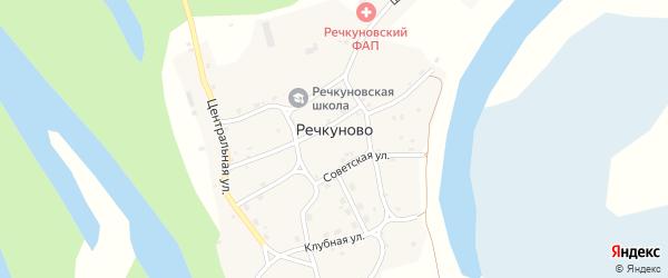 Клубная улица на карте села Речкуново с номерами домов