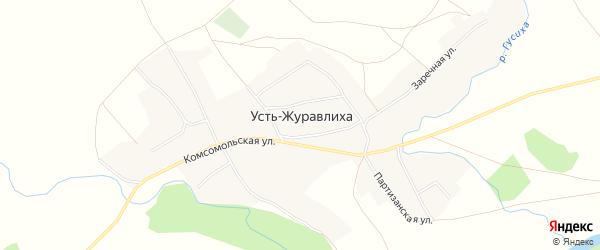 Карта села Усть-Журавлихи в Алтайском крае с улицами и номерами домов