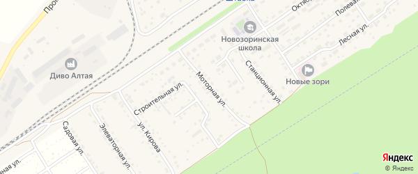 Моторная улица на карте поселка Новые Зори Алтайского края с номерами домов