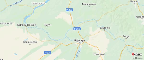 Карта Тальменского района Алтайского края с населенными пунктами и городами