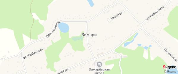 Рябиновая улица на карте села Зимари с номерами домов