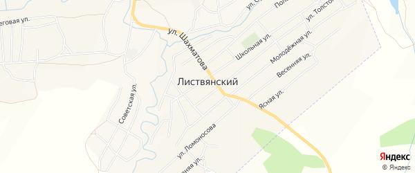 Карта Листвянского поселка в Новосибирской области с улицами и номерами домов