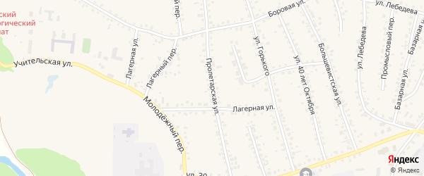 Пролетарская улица на карте поселка Тальменки Алтайского края с номерами домов