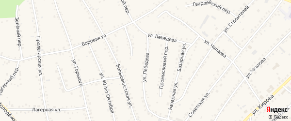 Улица Лебедева на карте поселка Тальменки Алтайского края с номерами домов