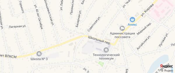 Школьный переулок на карте поселка Тальменки Алтайского края с номерами домов