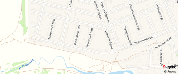 Игристый переулок на карте села Власихи с номерами домов