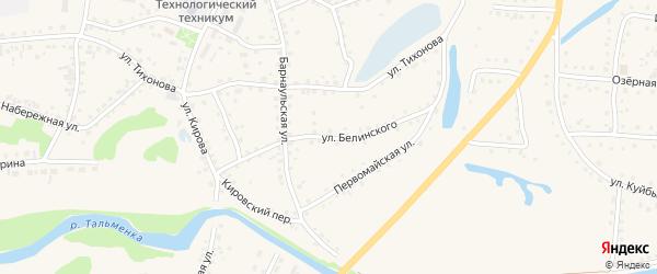 Улица Белинского на карте поселка Тальменки Алтайского края с номерами домов