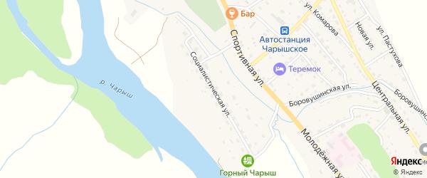 Социалистическая улица на карте Чарышского села с номерами домов