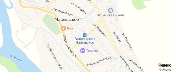 Строительный переулок на карте Чарышского села с номерами домов