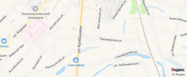 Пионерская улица на карте поселка Тальменки Алтайского края с номерами домов
