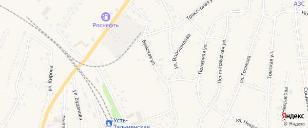 Бийская улица на карте поселка Тальменки Алтайского края с номерами домов