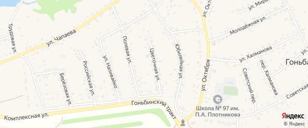 Цветочная улица на карте села Гоньбы с номерами домов