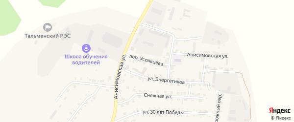 Переулок Усольцева на карте поселка Тальменки Алтайского края с номерами домов