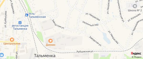 Заводская улица на карте поселка Тальменки Алтайского края с номерами домов