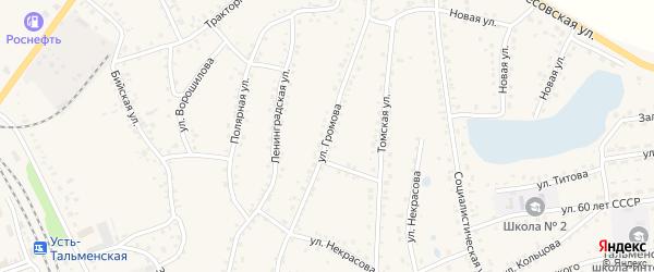 Улица Громова на карте поселка Тальменки Алтайского края с номерами домов