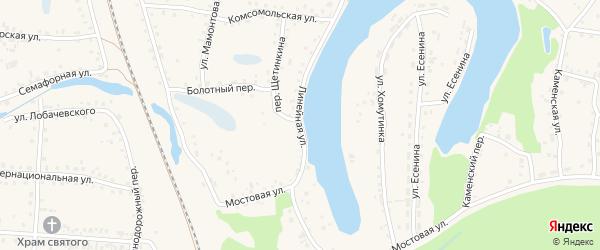 Линейная улица на карте поселка Тальменки Алтайского края с номерами домов