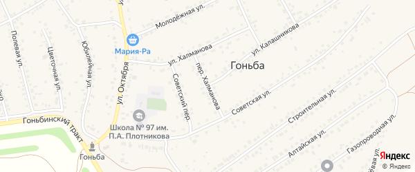 Переулок Халманова на карте села Гоньбы с номерами домов