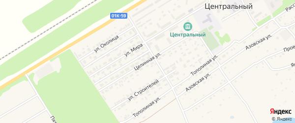 Целинная улица на карте Центрального поселка с номерами домов