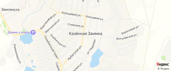 Карта поселка Казенной Заимки города Барнаула в Алтайском крае с улицами и номерами домов