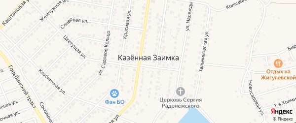 Прибрежная улица на карте поселка Казенной Заимки с номерами домов