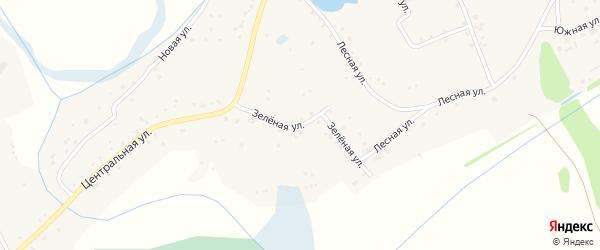 Зеленая улица на карте Лугового села Алтайского края с номерами домов
