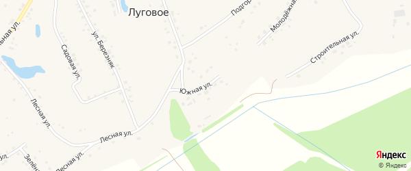 Южная улица на карте Лугового села с номерами домов