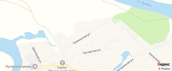 Чумышская улица на карте Лугового села Алтайского края с номерами домов