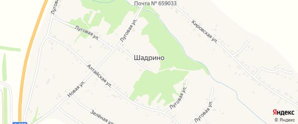 Зелёная улица на карте села Шадрино Алтайского края с номерами домов