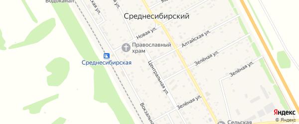 Центральная улица на карте Среднесибирского поселка Алтайского края с номерами домов