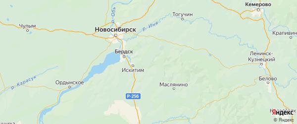 Карта Искитимского района Новосибирской области с городами и населенными пунктами