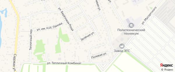 Зеленая улица на карте села Лебяжьего с номерами домов