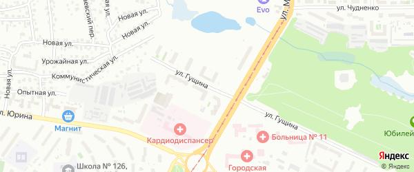 Улица Гущина на карте Барнаула с номерами домов