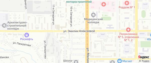 Улица Эмилии Алексеевой на карте Барнаула с номерами домов