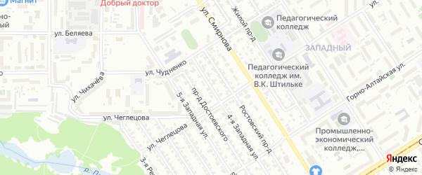 Западная 4-я улица на карте Барнаула с номерами домов