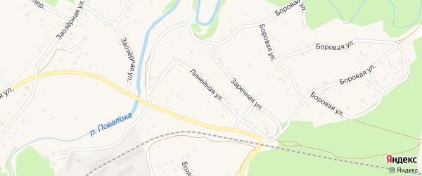 Линейная улица на карте села Повалиха с номерами домов