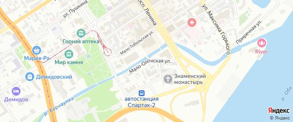 Мало-Олонская улица на карте Барнаула с номерами домов