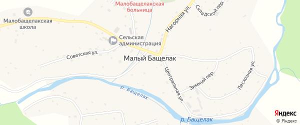 Луговой переулок на карте села Малого Бащелака с номерами домов