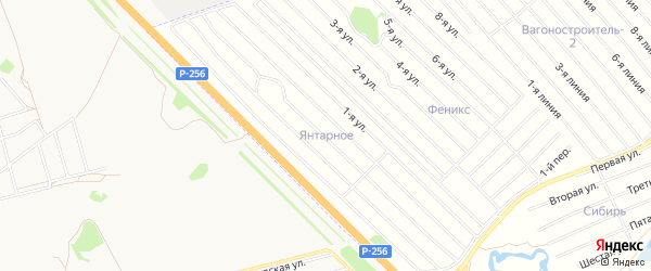 Карта Янтарного садового некоммерческого товарищества в Алтайском крае с улицами и номерами домов