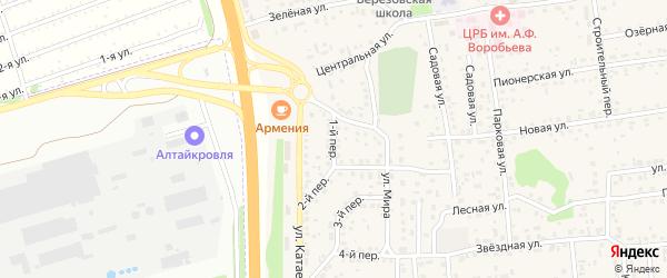 Первый переулок на карте села Березовки с номерами домов