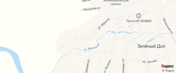 Улица Фрунзе на карте села Зеленого Дола Алтайского края с номерами домов
