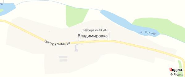 Центральная улица на карте села Владимировки Алтая с номерами домов