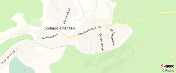 Карта села Большого Калтая в Алтайском крае с улицами и номерами домов