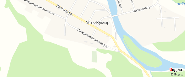 Интернациональная улица на карте села Усть-Кумира Алтая с номерами домов